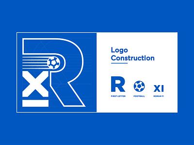 """Logo Design - """"Rajat"""" 11 soccer football mark monogram white blue typography branding vector logo icon design simple minimal illustrator"""