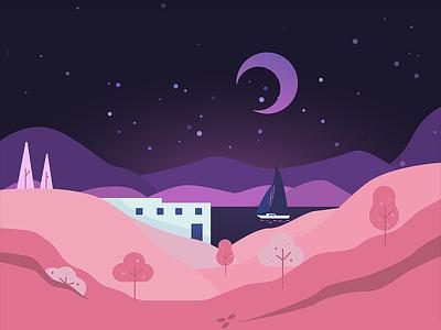 Fredelig hills mountains house yacht river sea violet purple pink night red vector dark design simple minimal illustrator illustration