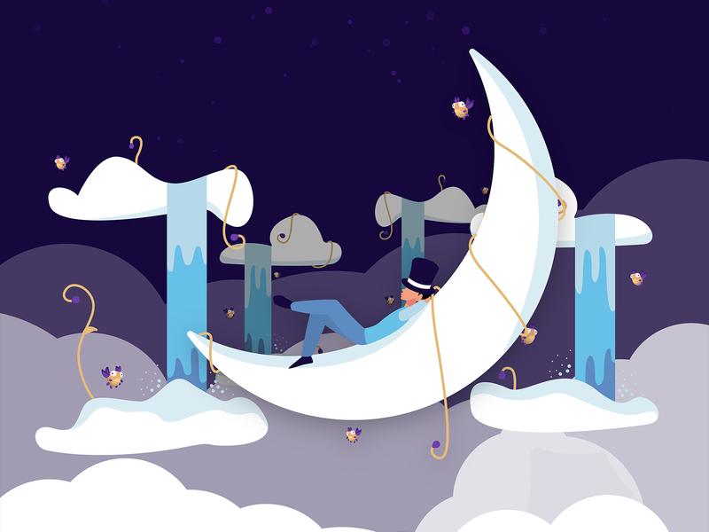 High mobile spacce sky magic serene relax waterfall clouds high moon night blue vector dark design simple minimal illustrator illustration
