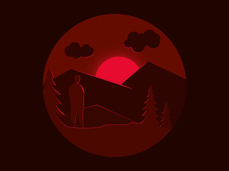 Adios 2019 mountains clouds sunset sun man good bye year end new year 2020 2019 night icon red vector dark design simple minimal illustrator illustration
