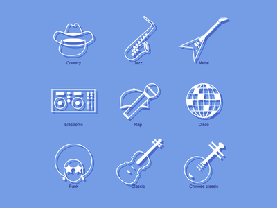 Music genre line icons genre music set line icons icon