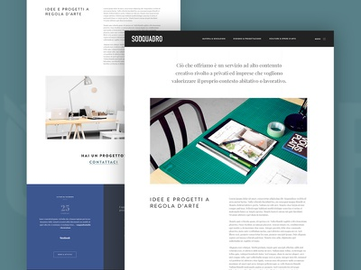 Soqquadro - About us page website web ux ui interior design handcraft minimal blocks white