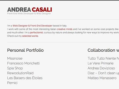andreacasali.com webdesign responsive minimal website portfolio