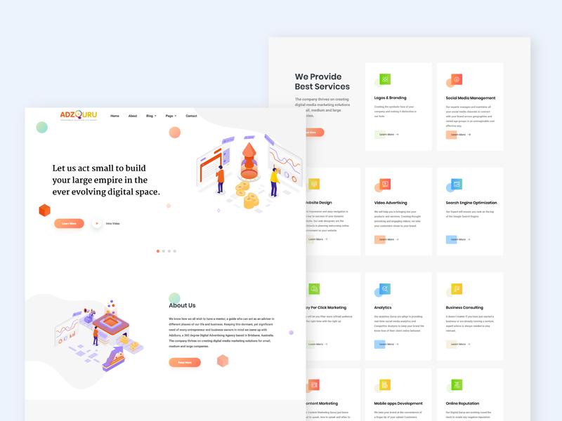 ADZGURU branding uidesign ui designs illustration app agency website agency advertise advertising website concept website design