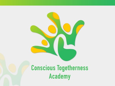 logo- Consious together Academy 3 boys peace people earth unity together humanity humans human branding dribbble illustration