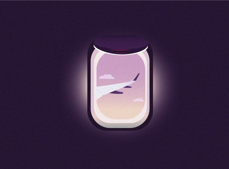Flight Window Seat dribbble best shot search clouds planet design dribbble illustration aeroplane flight seat