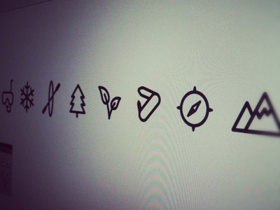 Outdoor icons icon bw one-color stroke black white outdoor knife compass mountain leaf tree canoe snorkel