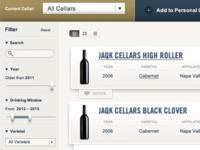 Wine storage UI detail