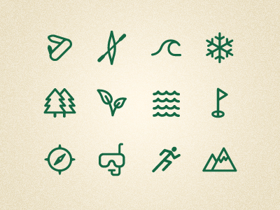 Outdoor icons set wave tree snorkel running golf icons outdoor leaf snowflake water knife canoe compass mountain