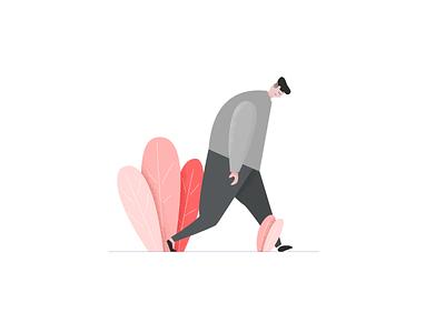 丧 / loser ux ui empty states landing page browser flat drawing character illustration
