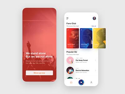 Music Player App Design card onboarding dj ui popular song player radio music album