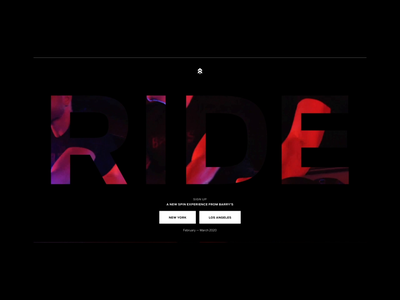 Barry's RIDE typography interaction design announcement minimal animation ui ux