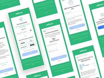 DailyPay Sign Up Flow ui design responsive phone mockup mobile login interaction interface illustrations ux ui flat design