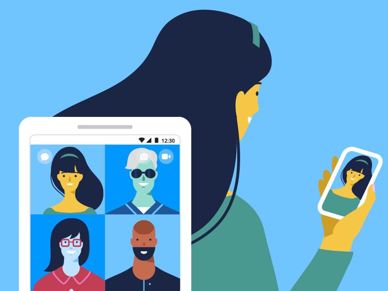 Facebook Messenger concept art banner ads illustrator vector graphic promotion illustration design