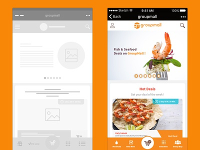 Groupmall Wechat Wireframes Turn Mockup mockup wireframes mobile ux ui wechat