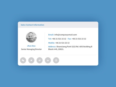Commer Contact Card information clean contactcard contact ui