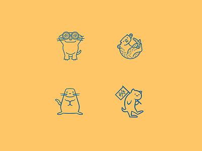 Sea Otters branding freehand logo vector illustration