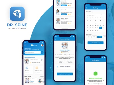 Dr. Spine App Design healthcare health uiux covid payment schedule doctor app appointment booking consult consultation pain spine patient doctor appointment doctor appointment