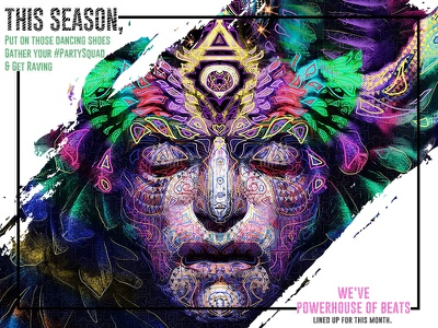 Power House of Beats cool colorfull season banner poster party power house of beats ui trendy landing illustration typography design