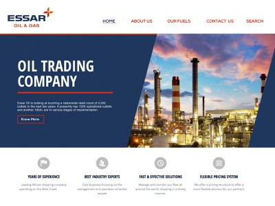 Essar Oil And Gas illustration know more contact experience fuels home page design essar oil  gas oil trading company webdesign uiux web landing page e-commerce landing branding trendy ux design ui