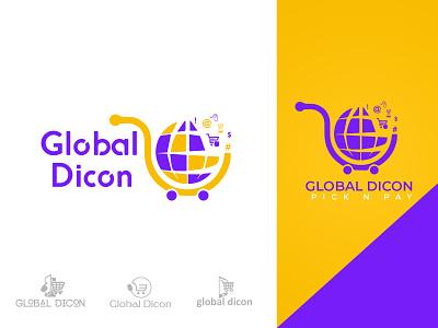 Global Dicon Super Market Logo branding shopping digital logo minimal logo logo design pick n pay global dicon global market logo supermarket logo app icon vector e-commerce logo typography illustration trendy design ui