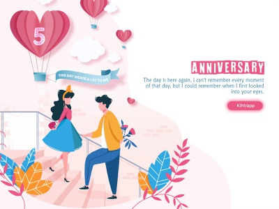 😍5th Anniversary😍 interaction web desgin made for each other old memories awesome day love 5th anniversary kihtrapp 5th year anniversary vector gradient  illustrations flower flat family couple anniversary trendy illustration design ui