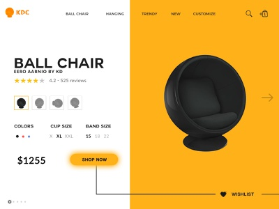 Ball Chair best shots customize cart wishlist shop now web design chair webpage ball chair kdc e-commerce landing minimal ux uiux branding trendy design
