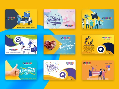 Gift Card Designs gift card events movies party holiday anniversary congrats birthday card minimal design trendy typography design purple yellow loyalty illustraion card design flat card card  game