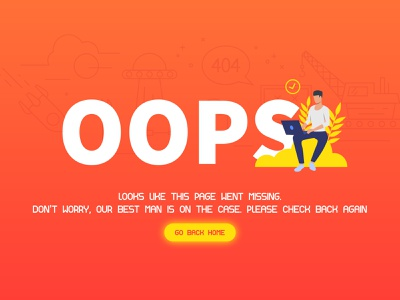 OOPS! retry lost found page missing go back home innovation error 500 forgot password typography oops error 404 error page minimal web design  website illustrator flat  graphic dailyui 404 page 404