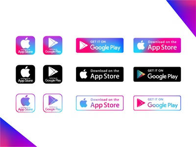 Play Store & App Store Icons vector illustration apple google stroke iocns minimal icons gradient free download icons pack download now icons get it on google play download on the app store play store app store download google play icon store icons google play store app store icon