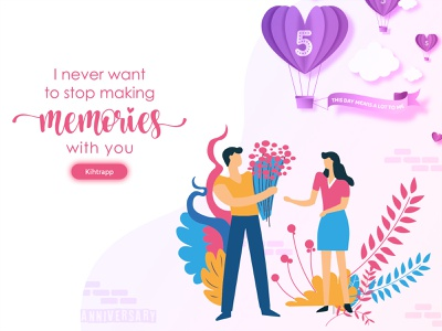 😍5th Anniversary😍 reminder flower floral design made for each other best couple best design minimal trendy flatdesign 5 memorial day 5 years illustraion anniversary couplesgoals couples memories 5th anniversary