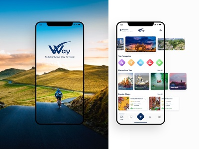 """Way"" Travelling App Design information architecture sign in location minimal invites giveaway invite travel way app visual design user flow trip app wireframe travel blog travel app places near you personas explore card design adventure app"