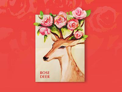 Rose Deer see visual luck love rose deer watercolor