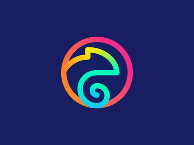 Chameleon graphic color chameleon logo visual see