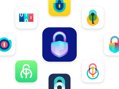 Lock graphic design concept app icon logo lock visual see