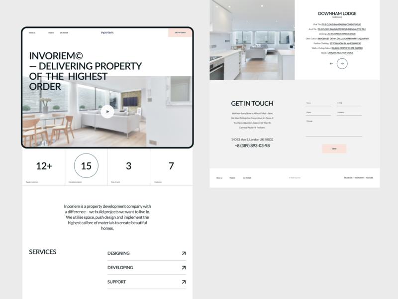 Invoriem mobile typography design concept architecture minimal web ui modern