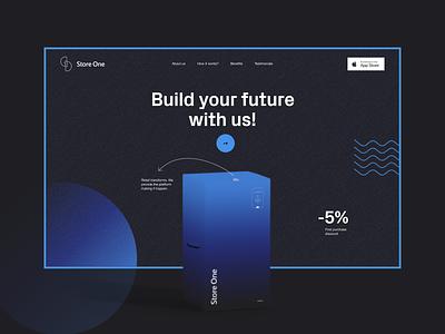 Store one modern logo branding dark web minimal concept ui product page landing