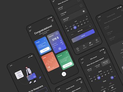 Keepners app apple concept modern illustration application gradient dark mobile minimal task management task manager task android ios app app