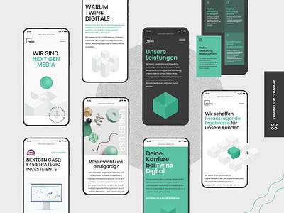 Twins digital (mobile adaptation) green modern ui concept mobile minimal isometric illustration studio agency marketing agency marketing digital