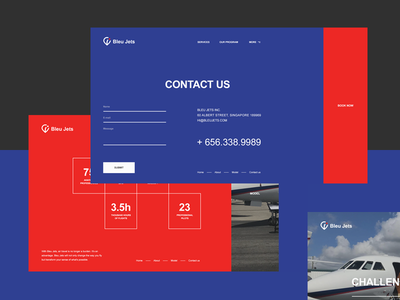 Bleu Jets minimal modern aero blue and red blue helicopter service air charter jet ux  ui