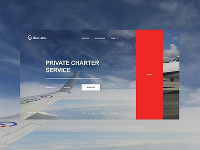 Bleu Jets. Home screen design mobile web ui blue red home minimal modern charter service helicopter aero jet