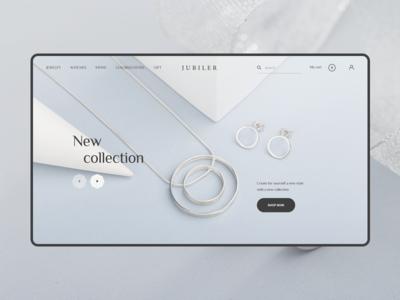 Jubiler. Home screen home white rings wedding mobile minimal modern web ui