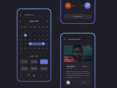 Voice Gym modern minimal ui interface black apple ios android mobile app