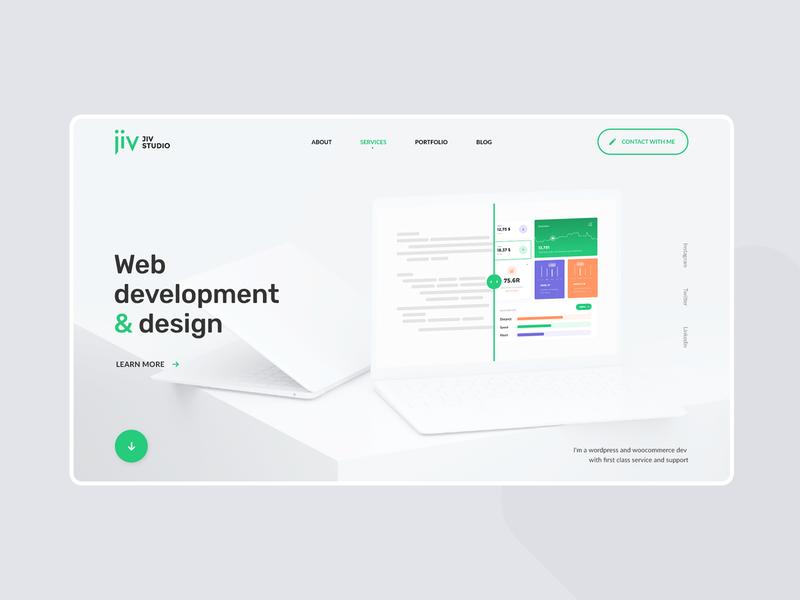 Jiv studio branding logo design ui minimal mobile redesign red modern green logo web white green design studio studio