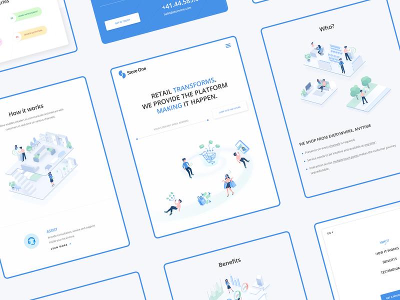 Store One concept adaptive logo mobile design blue modern minimal isometric illustration ui web
