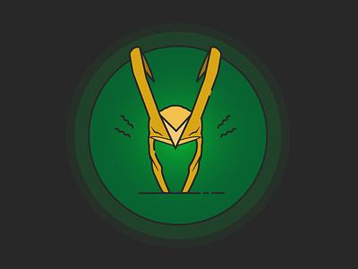 Loki's Helmet vector thor superheroes movie marvel line illustrator illustration flat design cartoon badge
