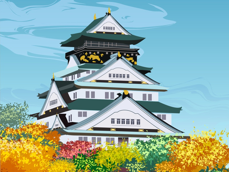 Japan Castle autumn castle japan china vectors illustration art illustrations illustrator vector illustration vector art vector illustration