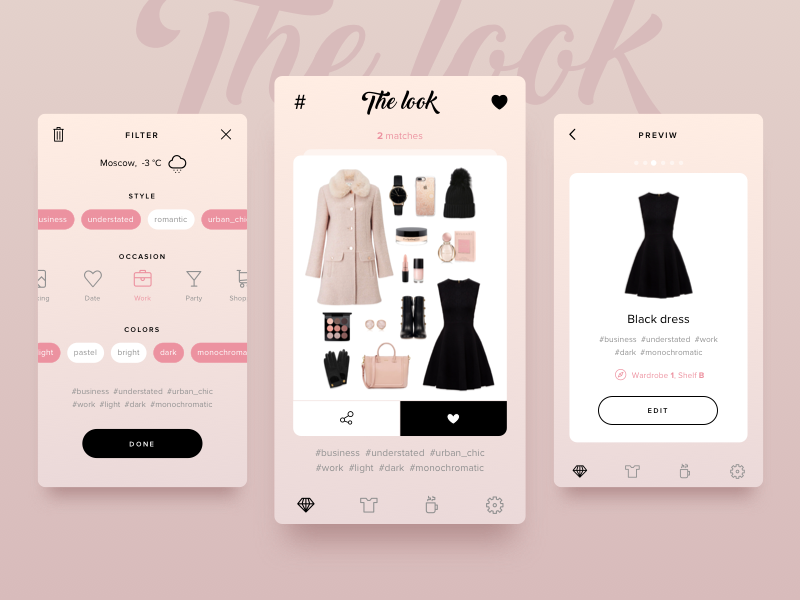 The look wardrobe filters dress look dailyui daily mobile interface app sketch ux ui