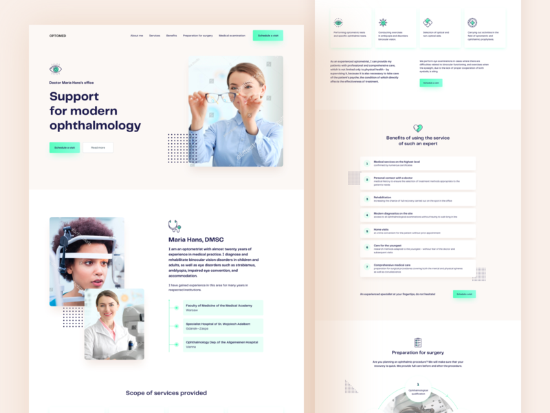 Optometry clinic concept optometry modern colorful medical landing page lp landing clean visual ui elements components interface experience ux ui typography website web design webdesign