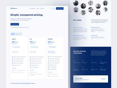Baselane — subpages web clean ui ux landing website visual financial careers team pricing website design web design interface modern design inspiration user experience minimal simple
